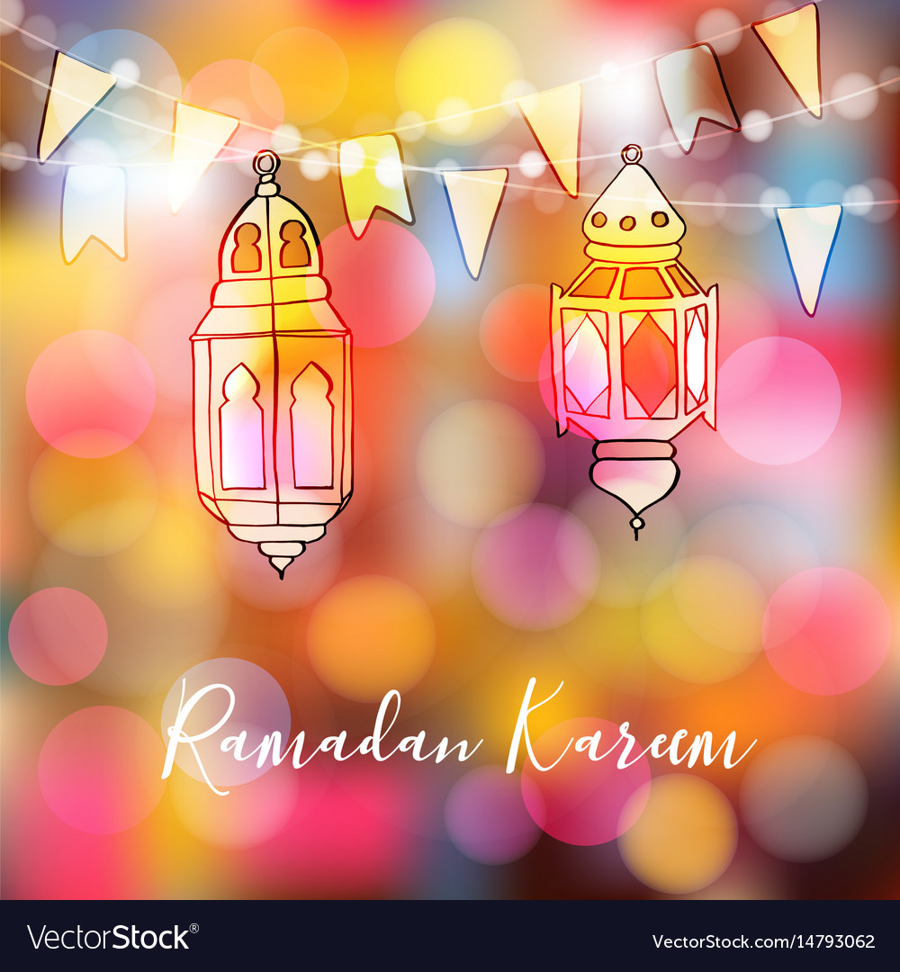 Colorful hand drawn arabic lanterns with lights vector image