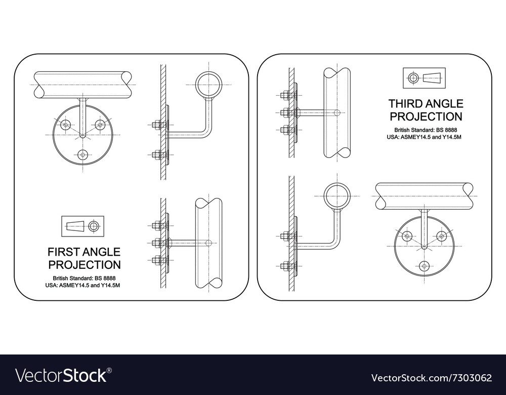 First and Third Angle Orthographic Projection vector image