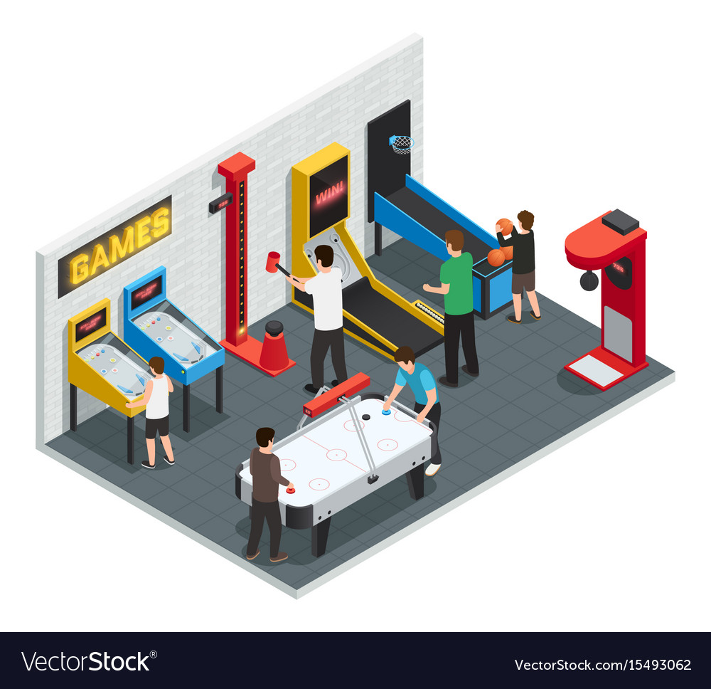 Game club interior colored concept vector image
