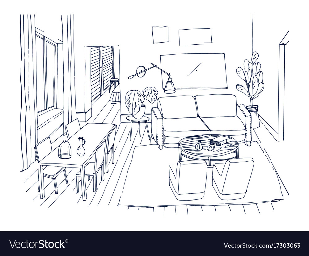 Freehand sketch of living room with window Vector Image