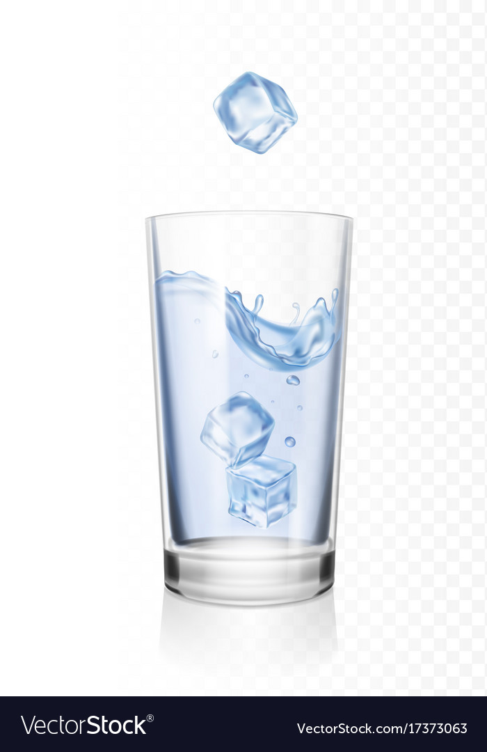 Glass of water with ice cubes realistic vector image