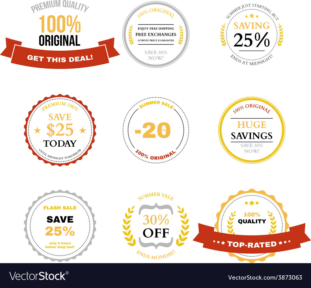 Set of Sale labels badges and design elements vector image