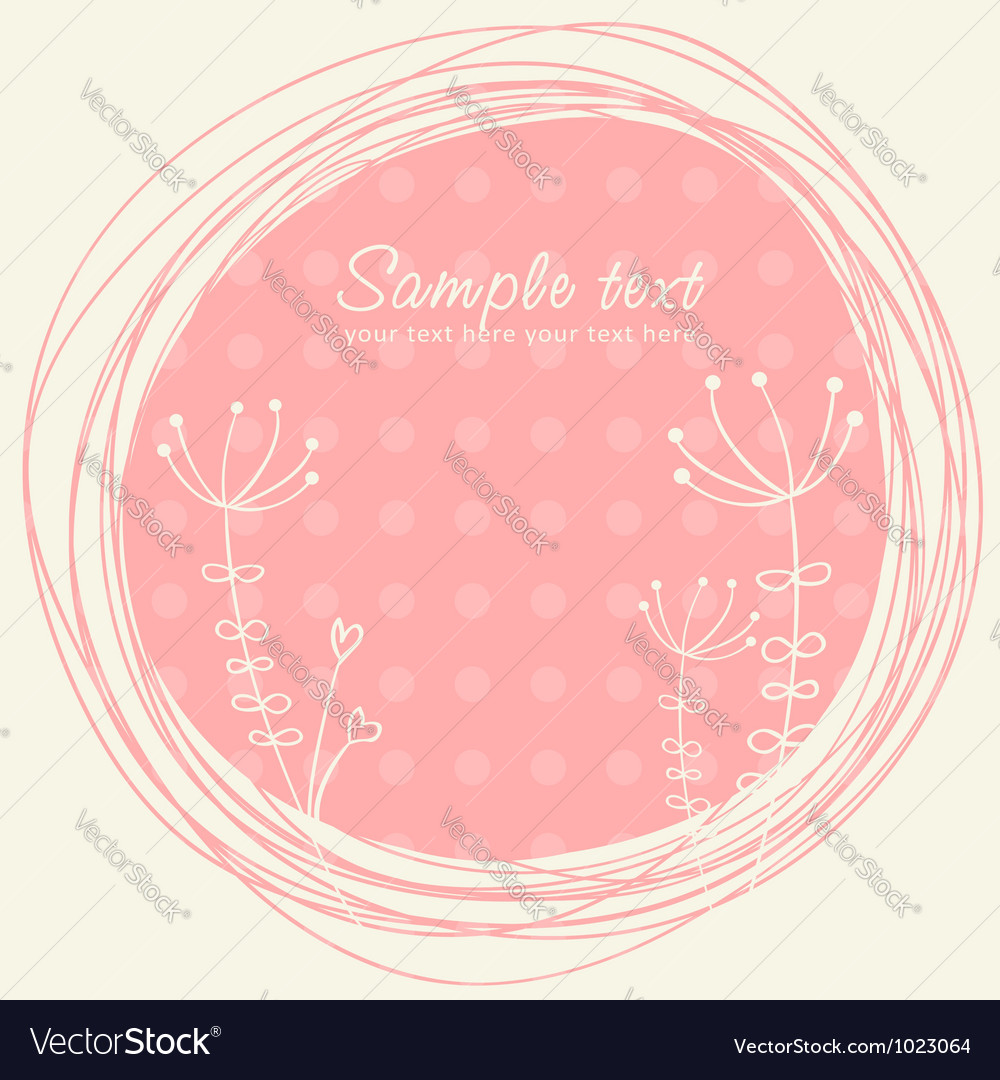 Cute sketch flower retro postcard vector image