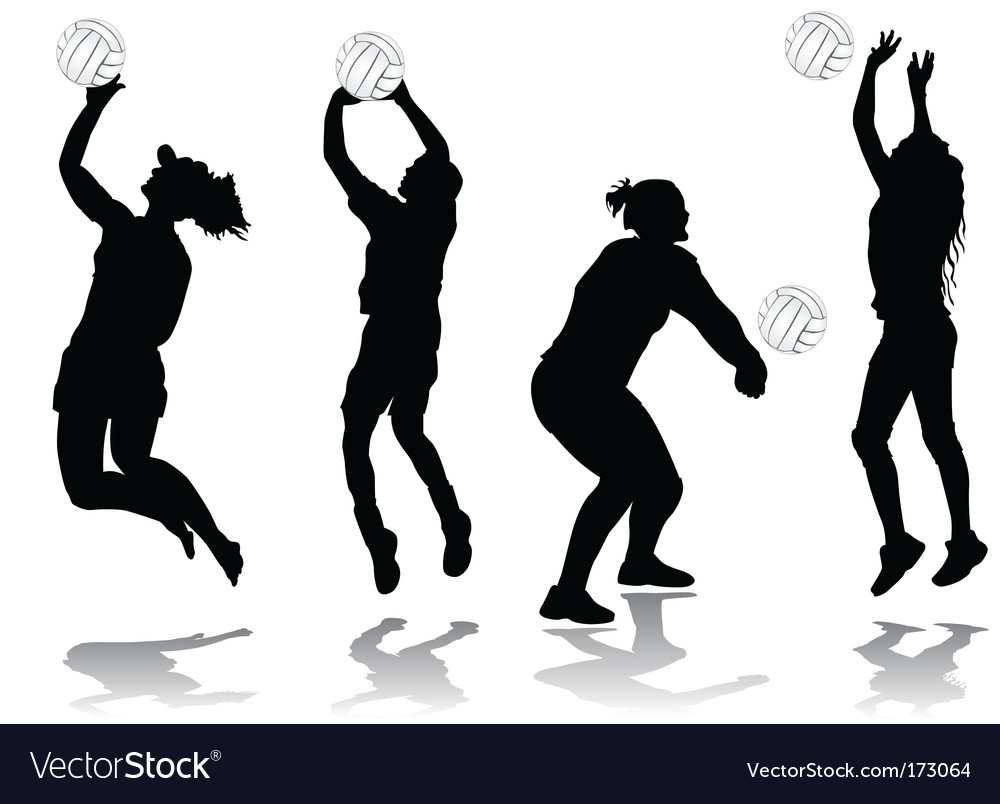 Illustration Abstract Volleyball Player Silhouette: Volleyball Player Royalty Free Vector Image
