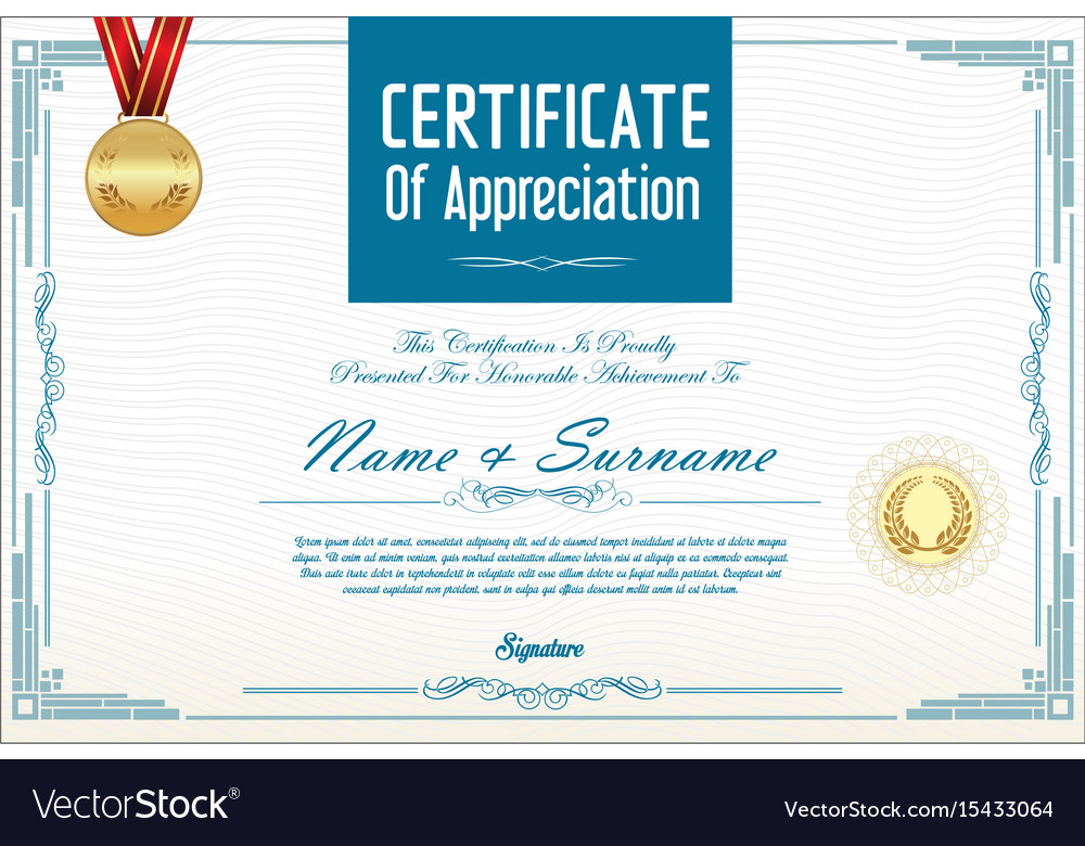Certificate or diploma template royalty free vector image certificate or diploma template vector image yadclub Choice Image