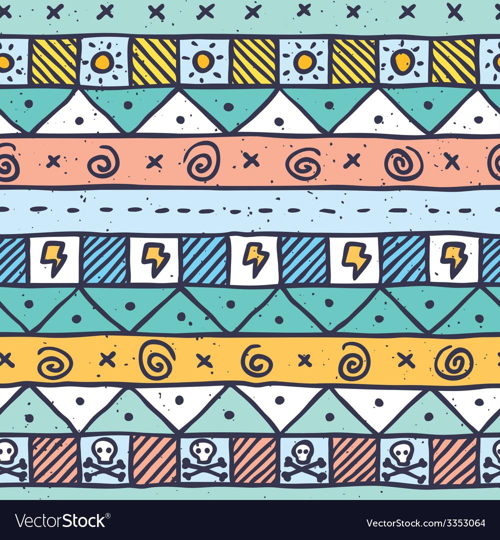Cute native hand drawn pattern vector image