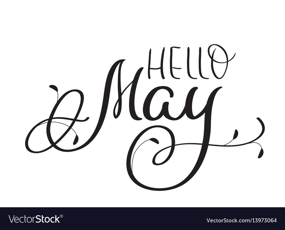 Hello may text on white background hand drawn vector image