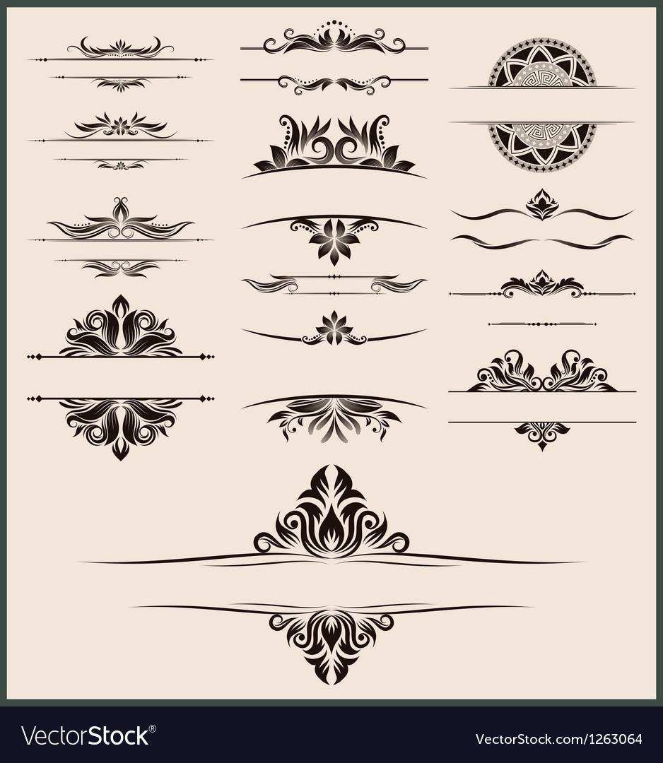 Vintage-element-and-border-set vector image