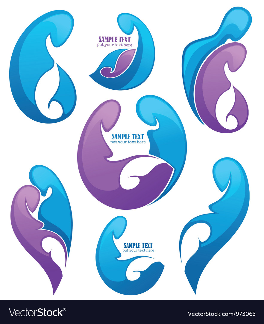 Family and pregnancy emblems vector image