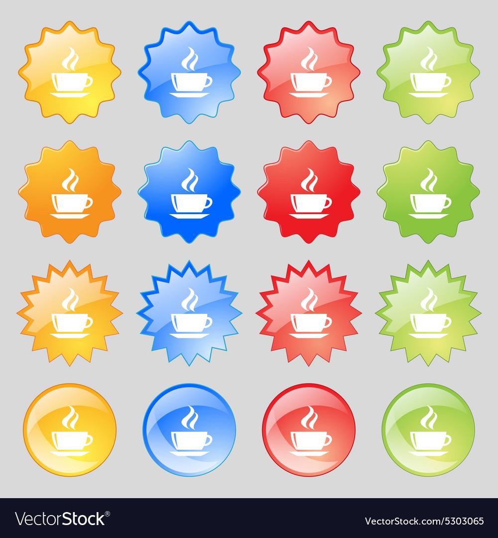 Tea coffee icon sign Big set of 16 colorful modern vector image