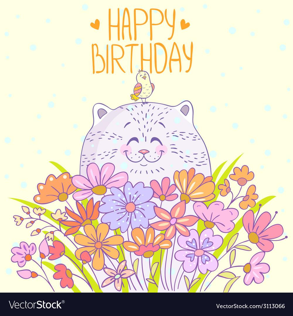 Cat Happy Birthday vector image