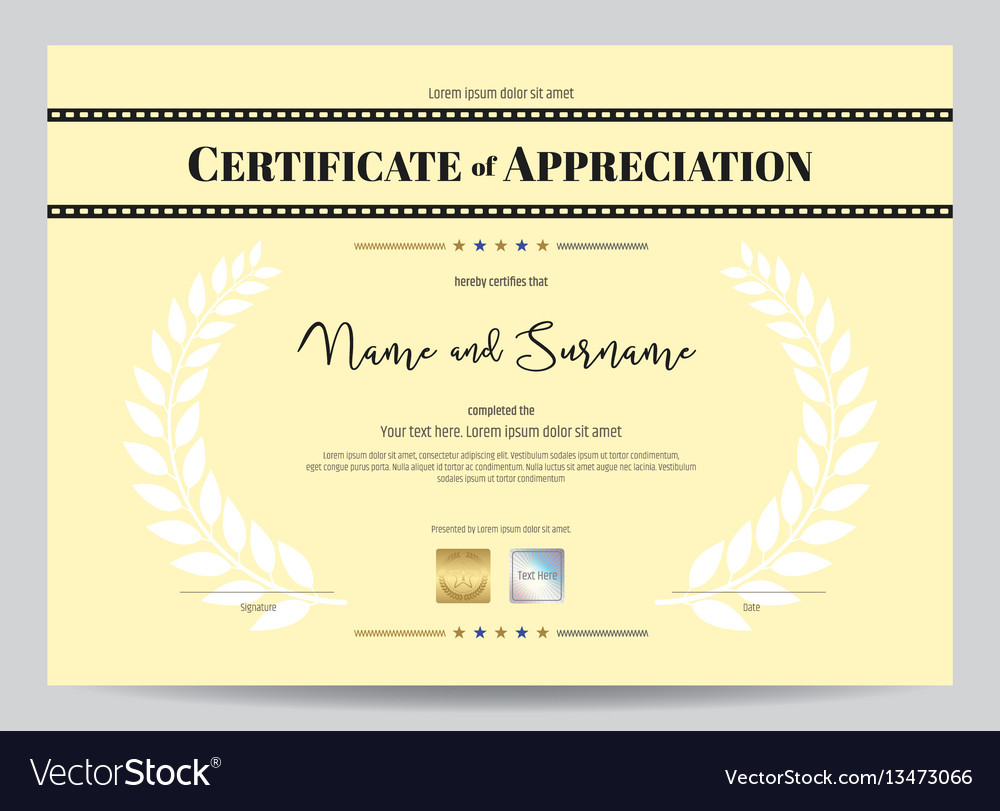 Certificate of appreciation template with movie vector image yelopaper Image collections