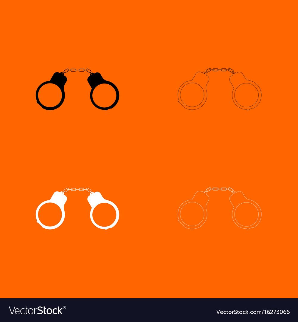 Handcuff black and white set icon vector image