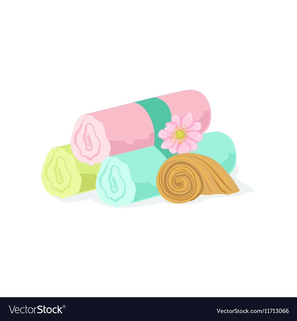 Three Pastel Color Towel Rolls Piled Mext To Shell vector image