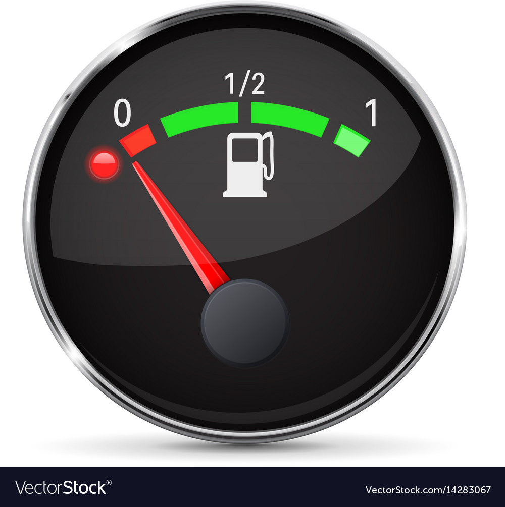 Black fuel gauge with chrome frame empty tank vector image