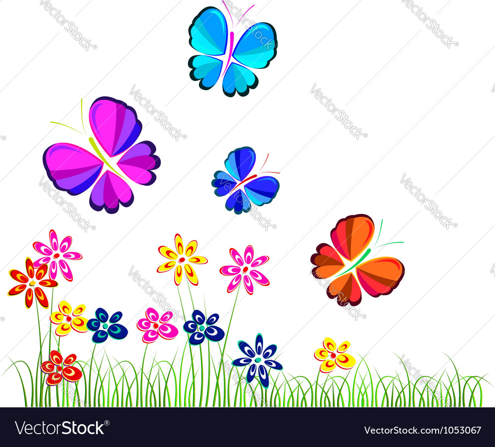butterflies flying over flowers royalty free vector image