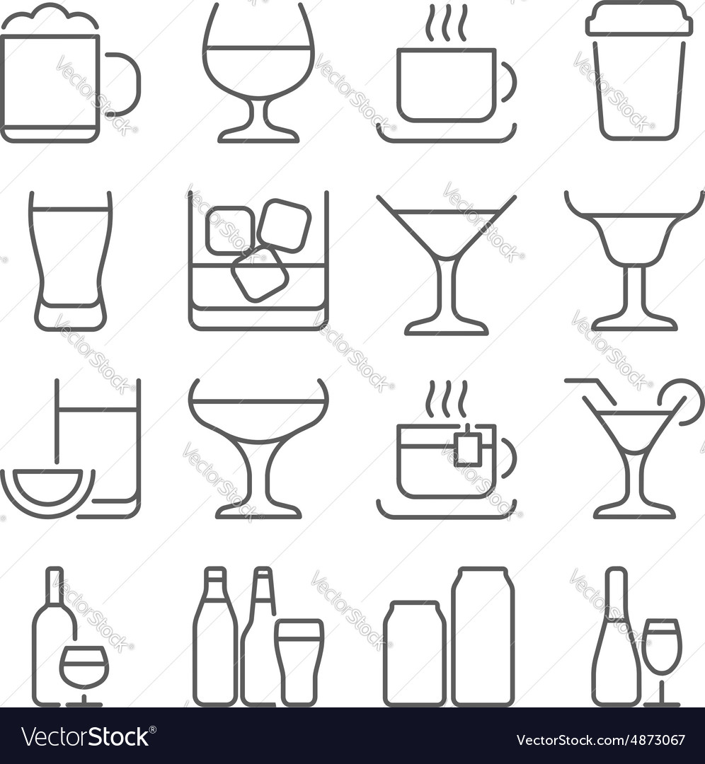 Drink line icons set vector image