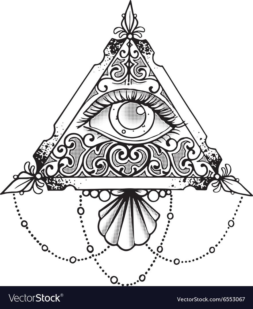 Eye Pyramid Black vector image