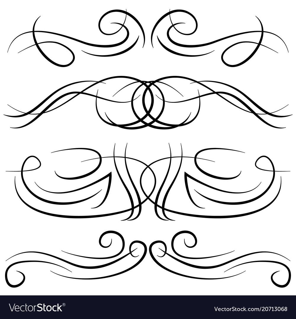 Set of vintage decorative curls Royalty Free Vector Image