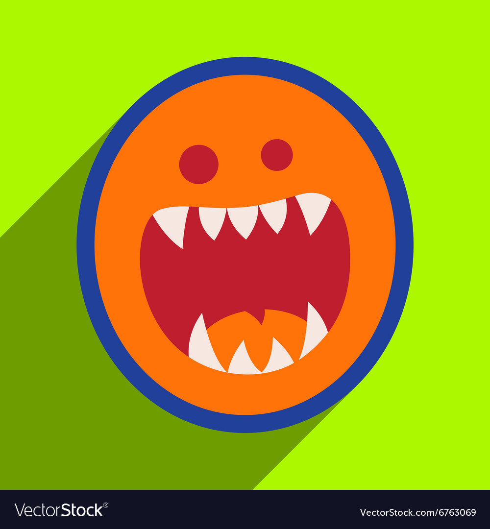 Flat with shadow Icon toothy monster bright