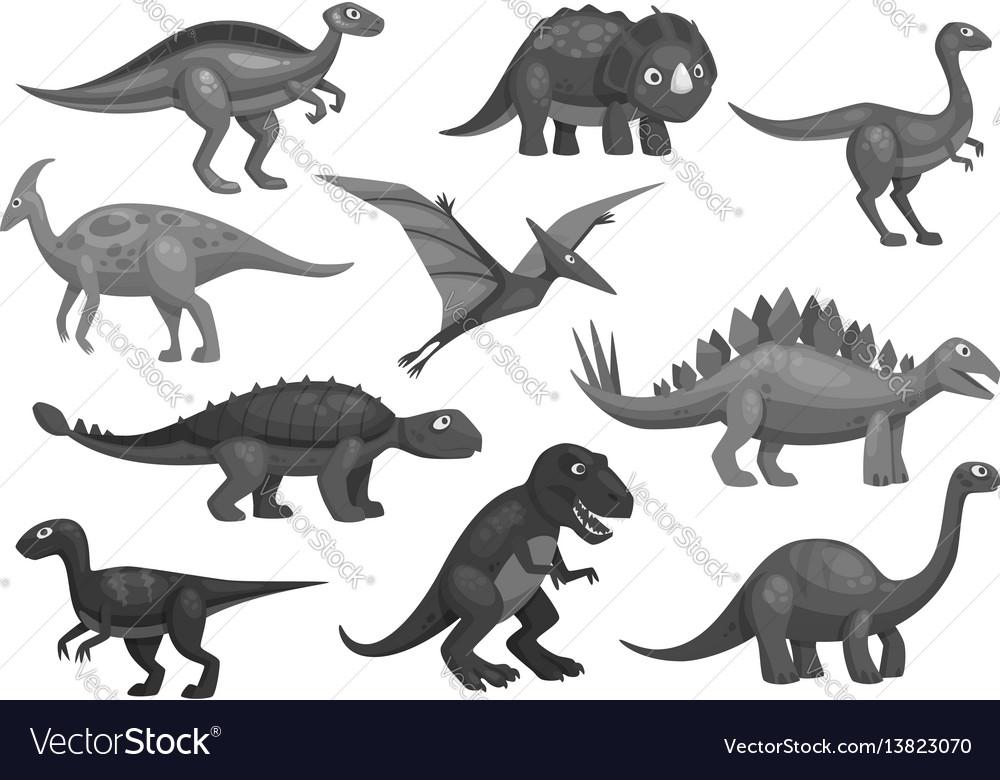 Cartoon dinosaurs icons set of jurassic characters vector image