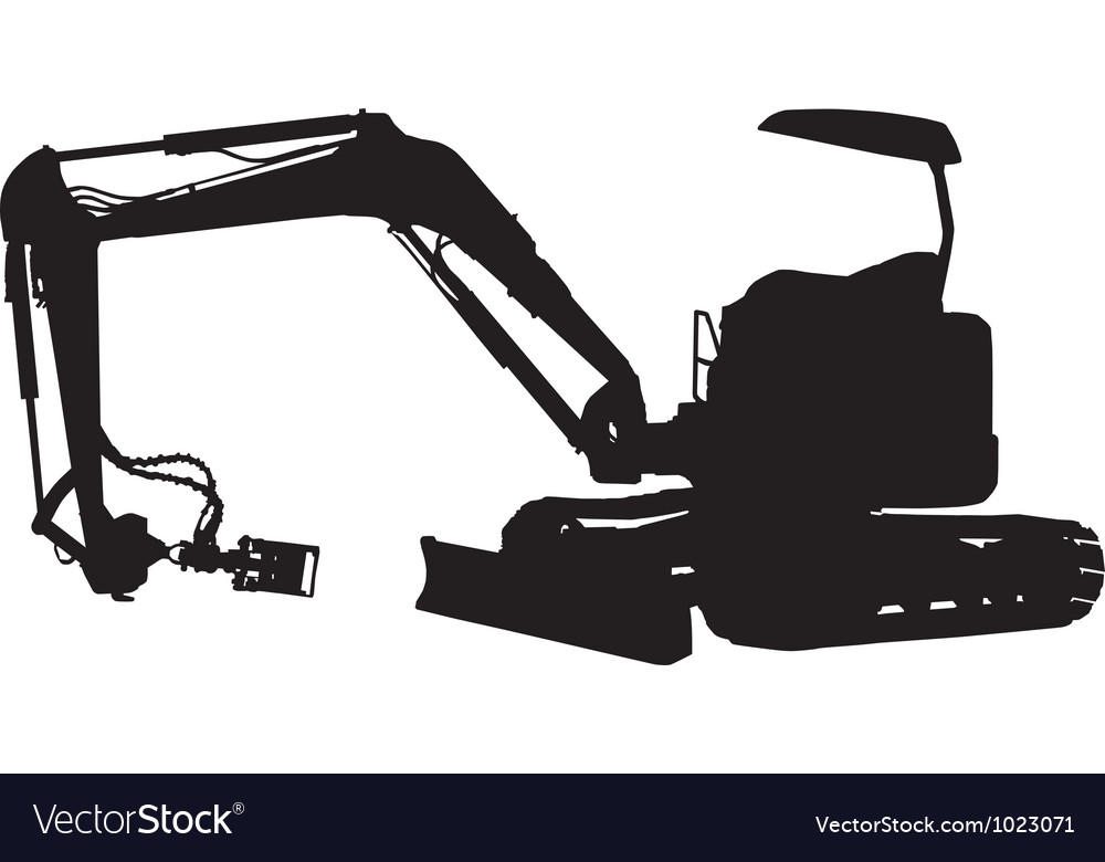 Construction digger mechanical excavator vector image