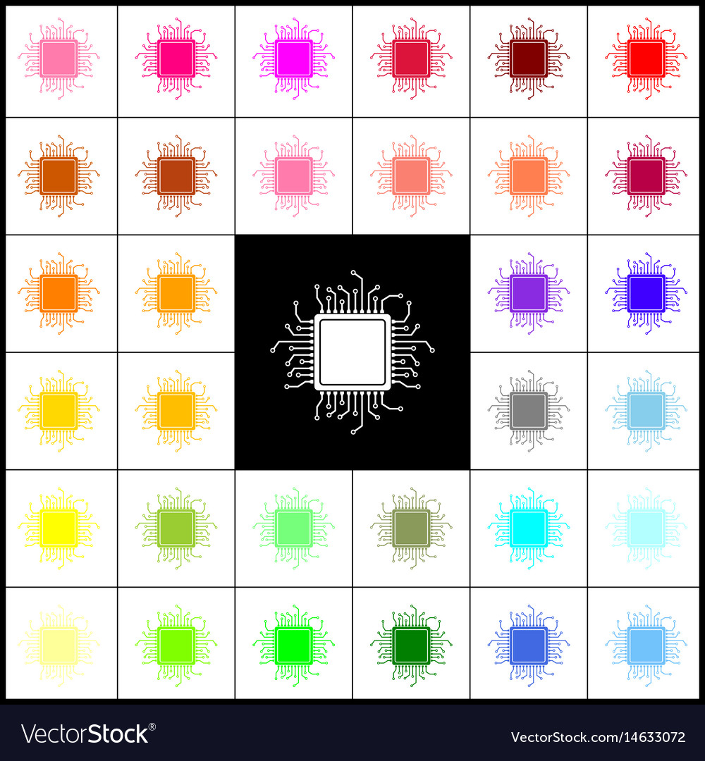 Cpu microprocessor felt-pen vector image