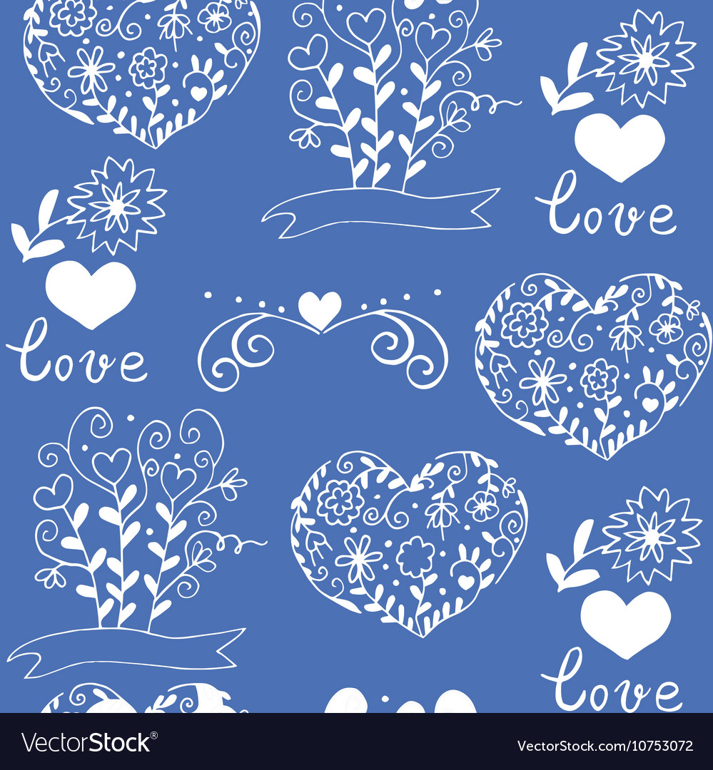 Hiqih quality pattern with hearts flowers vector image