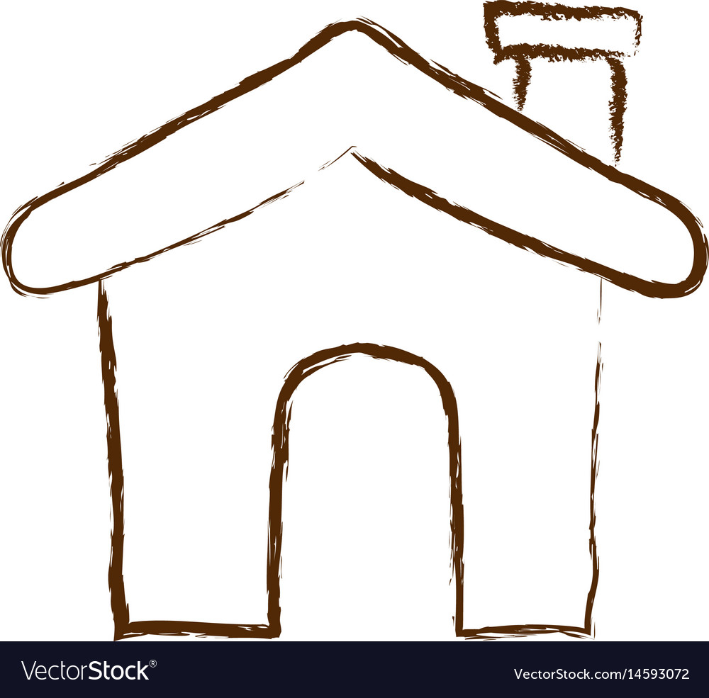 Monochrome hand drawn silhouette of house icon vector image