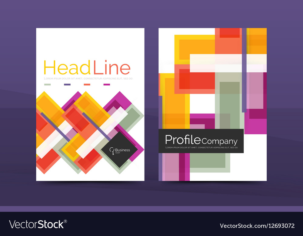 Straight lines geometric business report templates vector image