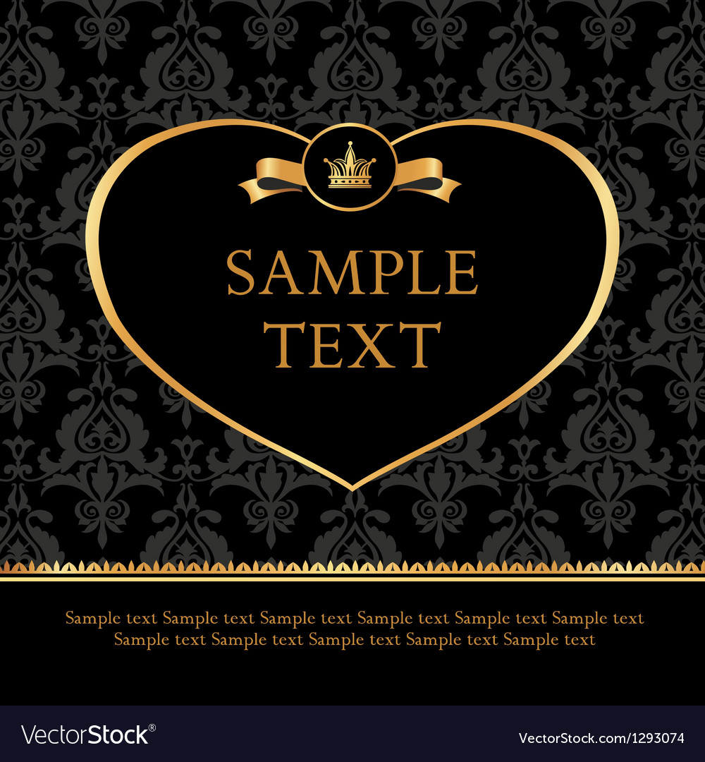 Golden Label Heart on Damask black Background vector image
