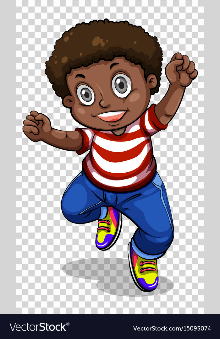 African american boy on transparent background vector image