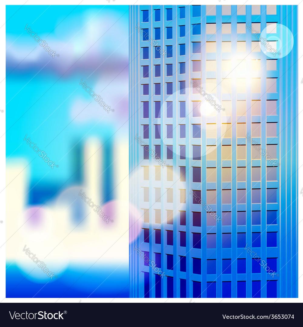 Dawn and skyscraper vector image