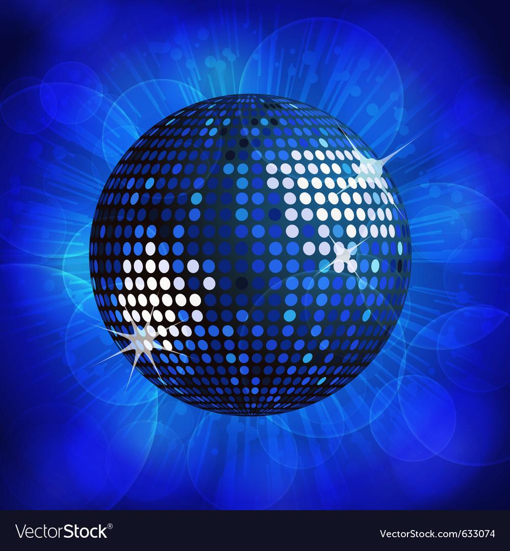 Sparkling blue disco ball on a blue starburst back vector image
