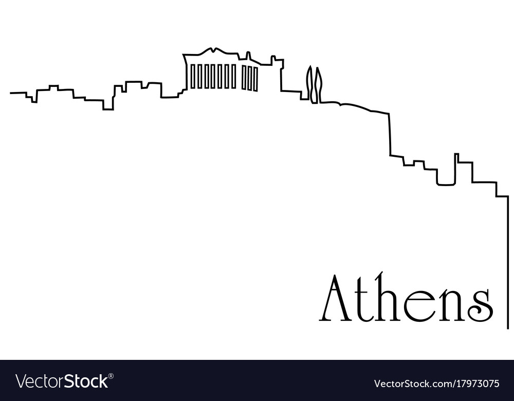 Athens city one line drawing background vector image