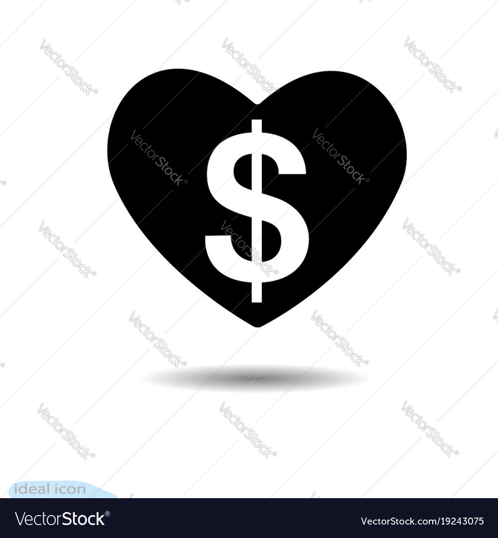 Heart icon dollar a symbol of love valentine vector image biocorpaavc Images