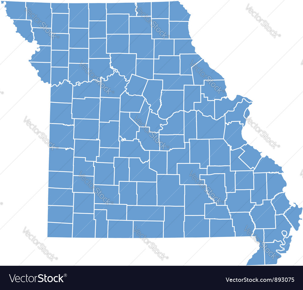 State Map Of Missouri By Counties Royalty Free Vector Image - Missouri county map