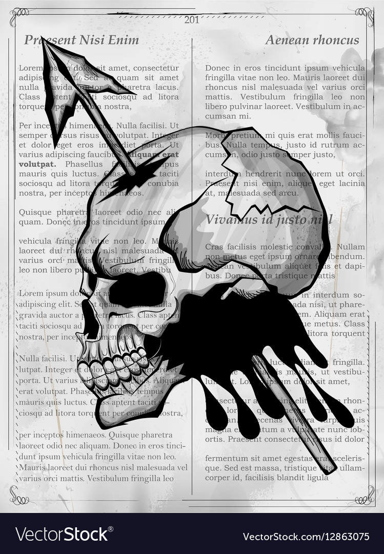 Vintge style grungy skull print retro background vector image