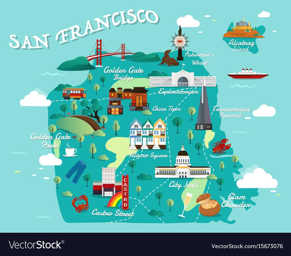 Map of san francisco Royalty Free Vector Image