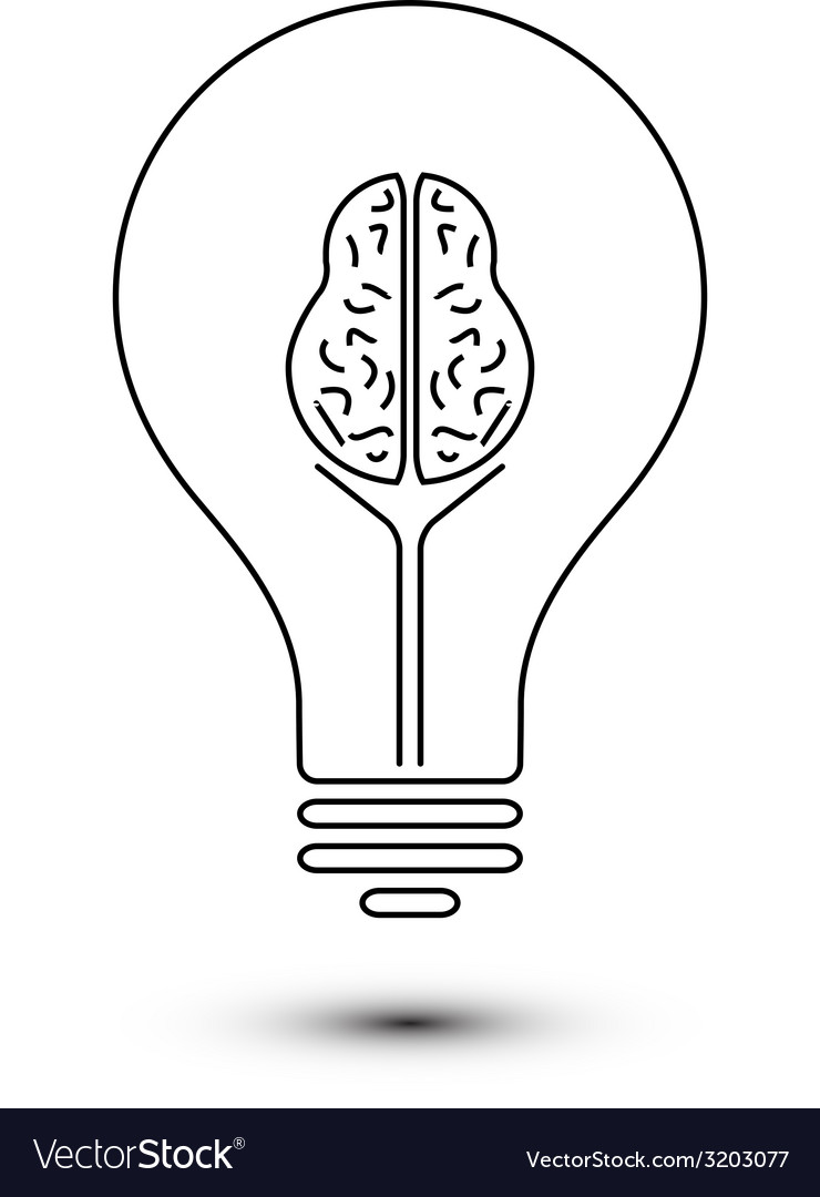 Abstract outline brain light bulb vector image