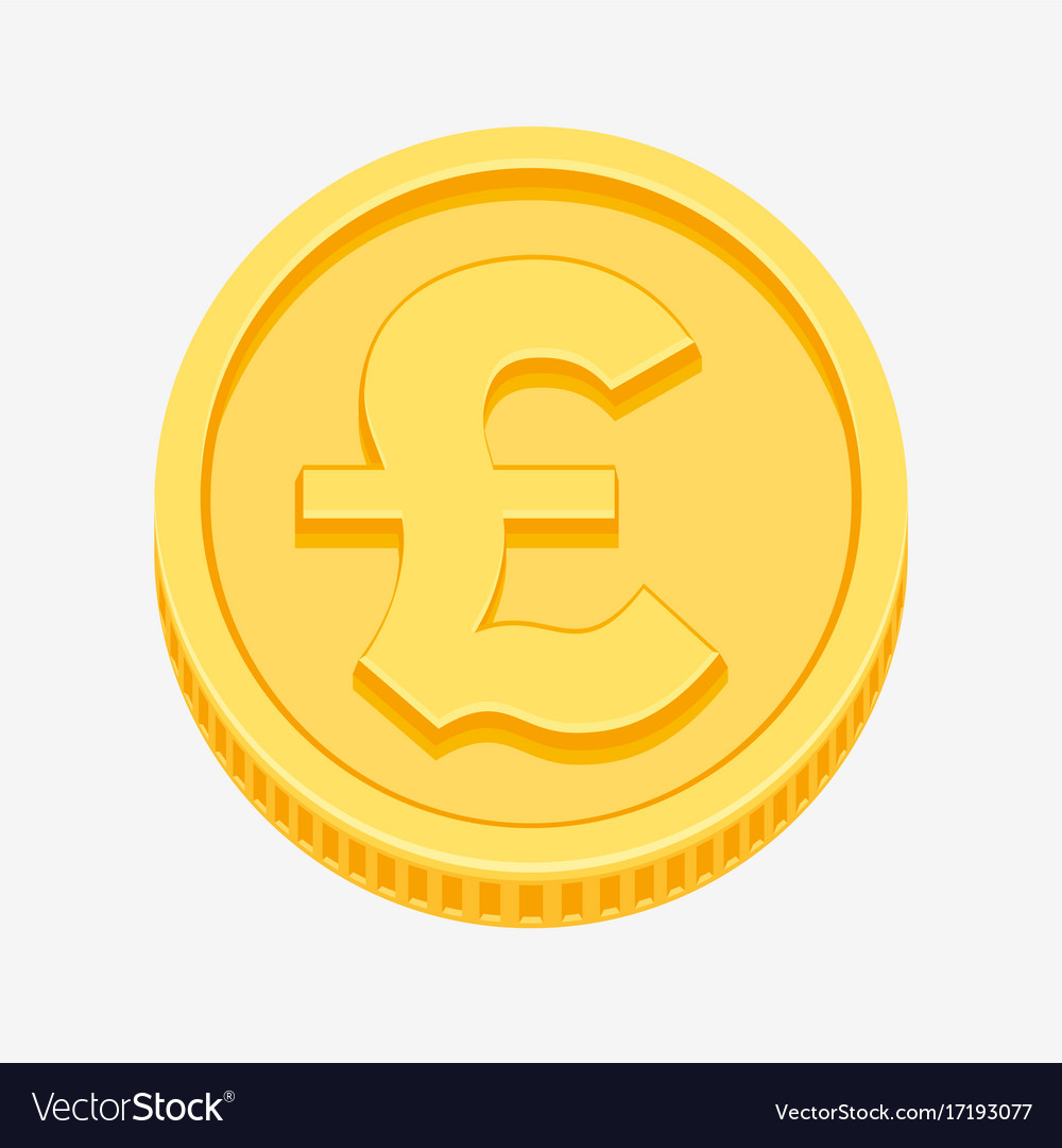 British pound sterling symbol on gold coin vector image biocorpaavc Gallery