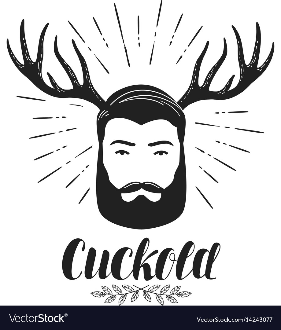 Cuckold icon or symbol bearded man with horns vector image