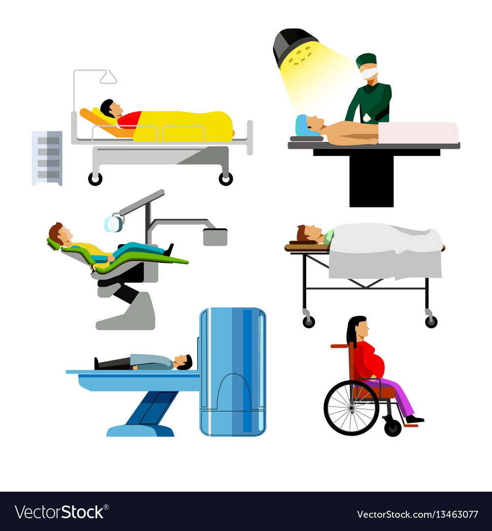 Hospital patients of dentist surgeon mri medical vector image