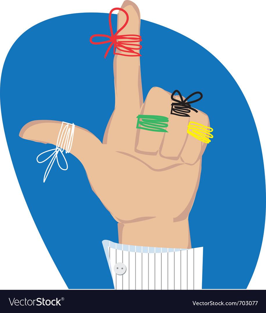 Reminder strings on fingers vector image