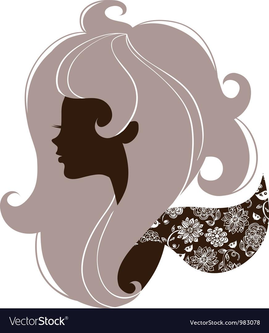 Beautiful girl silhouette vector image