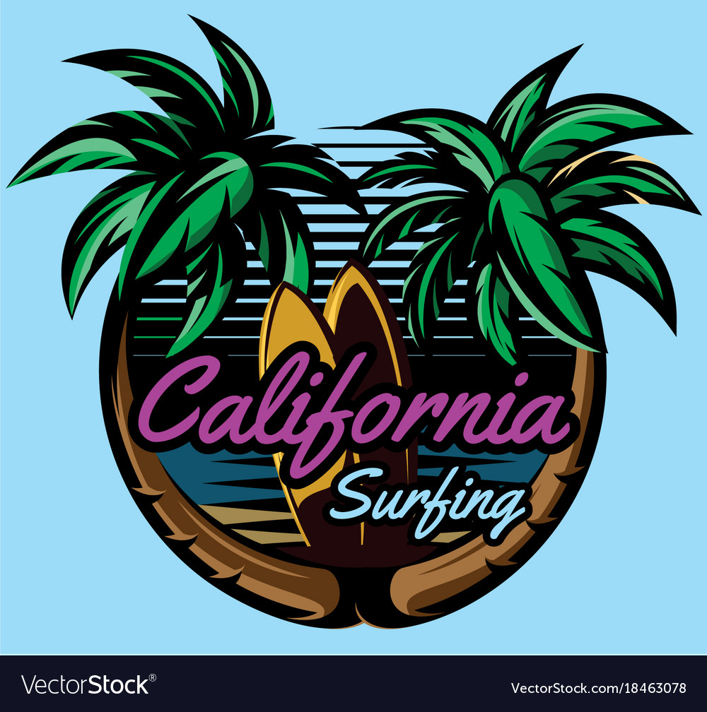 Color template with palm trees on the ocean vector image