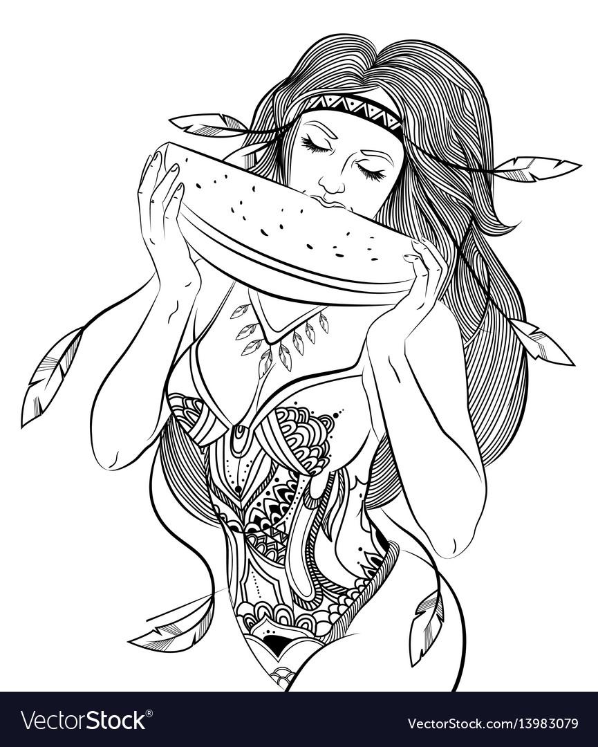 Hand drawn attractive boho girl concept vector image