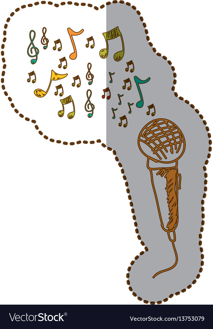 Microphone instrument note music icon vector image