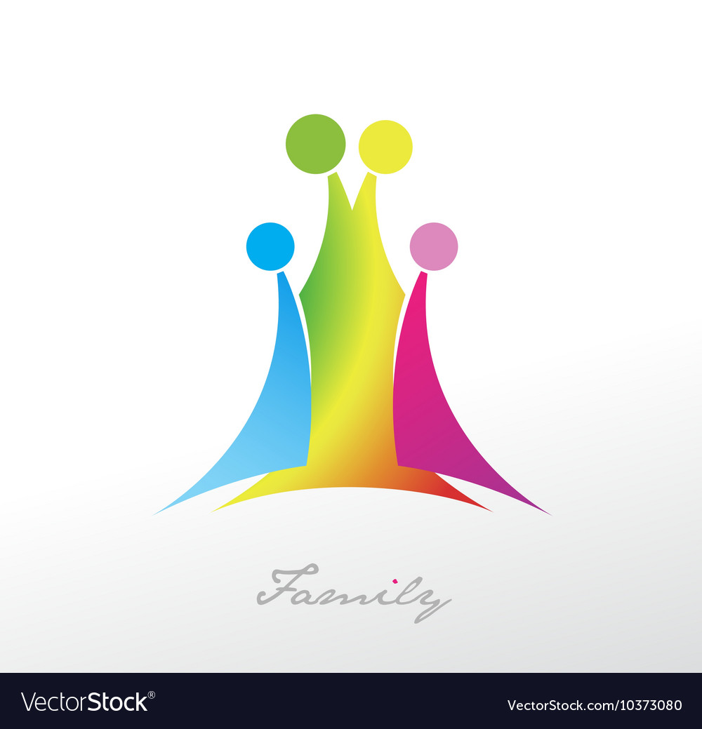 Family symbol with four colorful members vector image