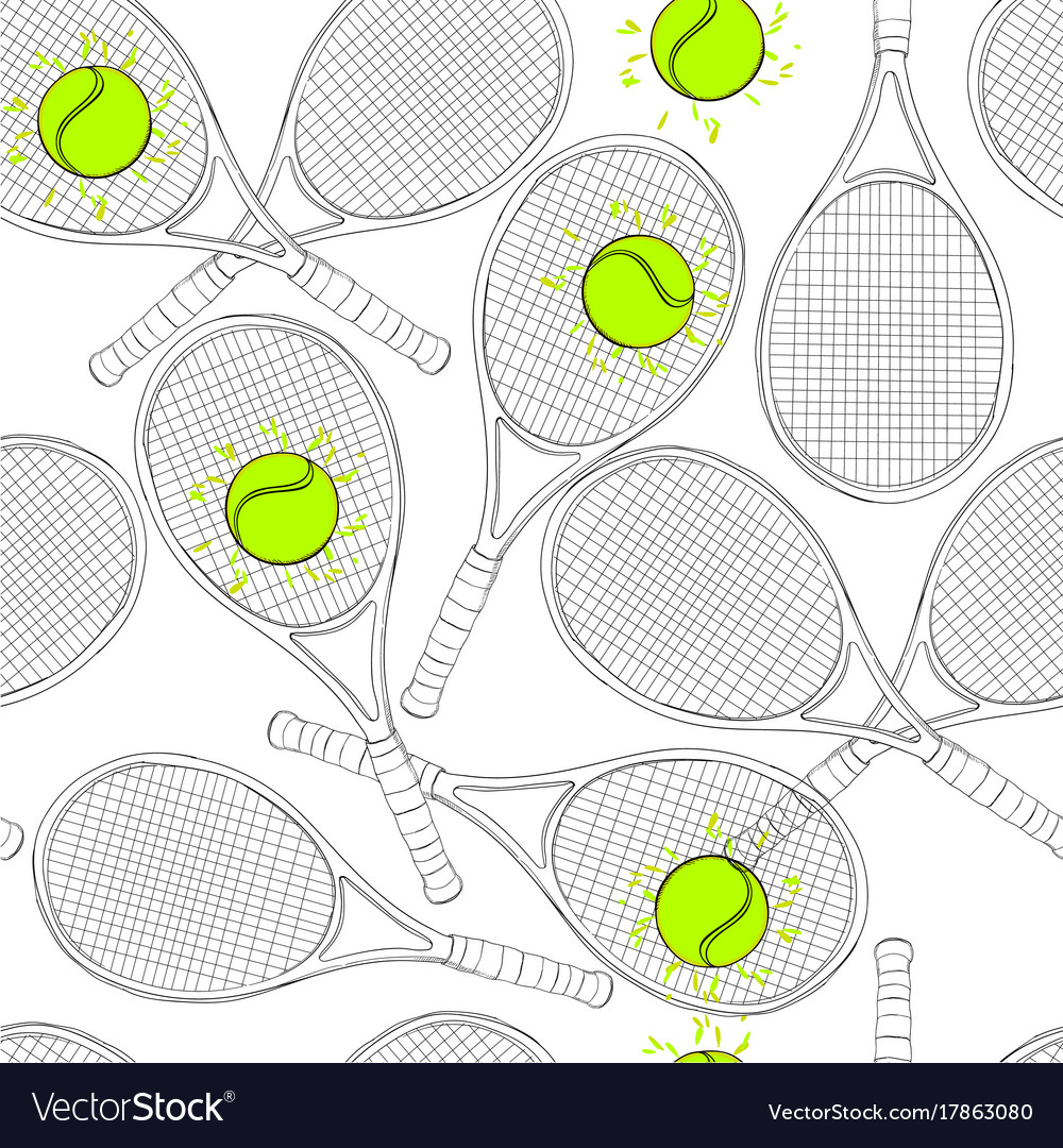 Seamless pattern with tennis vector image